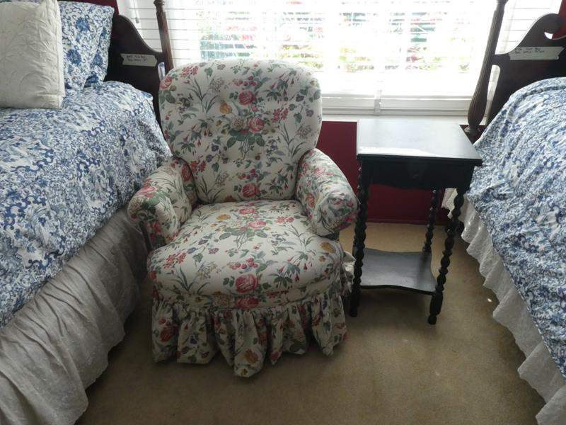 Lot # 48- vintage style floral print chair with nightstand (main image)