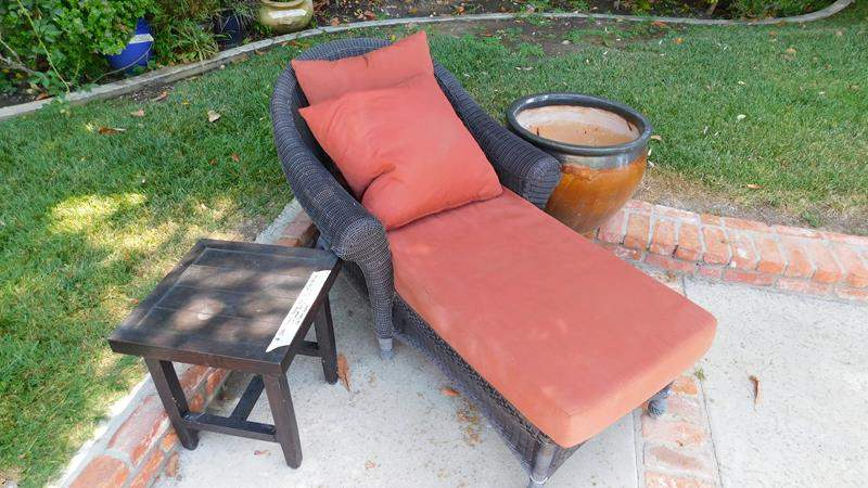 Lot # 366- Outdoor Chaise lounge chair, Giant flower pot, and side table (Metal) (main image)