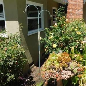 """Lot # 373- Bird bath planter with succulents 32"""", plants, metal plant hook"""