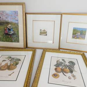 Lot # 52-framed art and fruit pictures