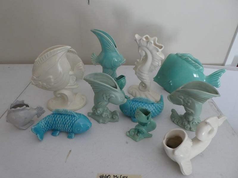 Lot # 60- McCoy Pottery, Fish, white and aqua (main image)