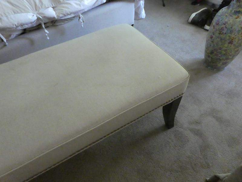 Lot # 73- Foot of the bed ottoman with two crystal clear lamps (main image)