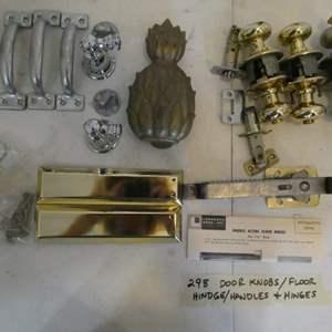 Lot # 298-door knobs, handles, hinges +