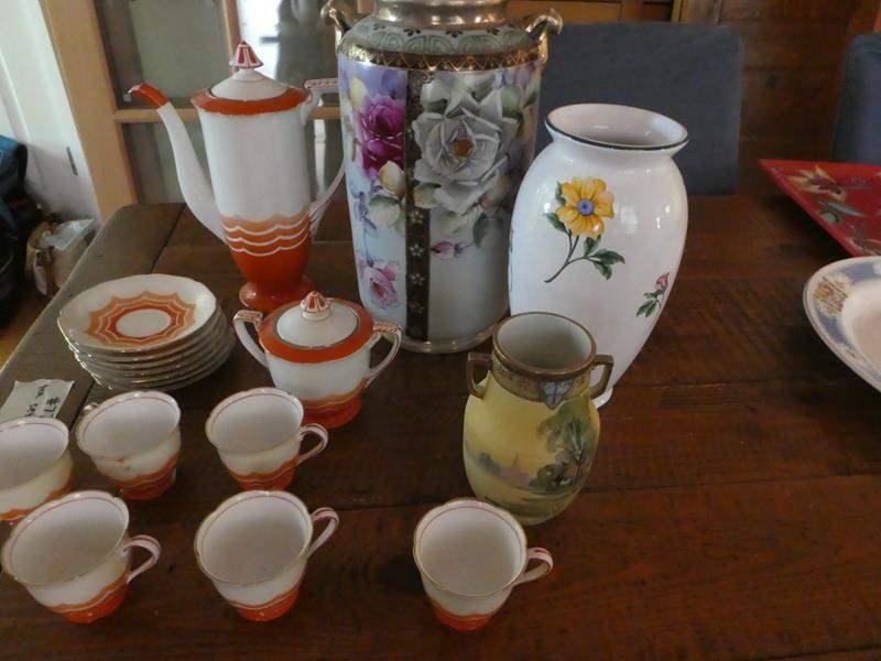 Lot # 77- Various collectors pieces. Orange china tea set.  (main image)
