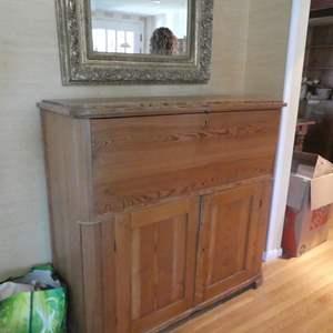 Lot # 79- Solid wood, rustic hutch/ desk