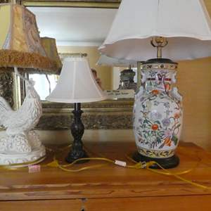 Lot # 82- Fun Lamps! Flower porcelain lamp and rooster lamp