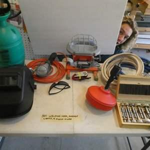 Lot # 301-plumbing snake, sprayer, welding mask, lights drill bits ++