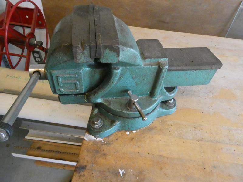 Lot # 303- Work bench , large VICE, content under bench (main image)