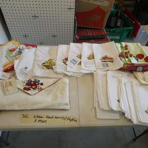 Lot # 312- Kitchen hand towels, cloth napkins ++ New & they are many!