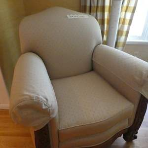 Lot # 94- Beautiful wing back cloth chair in great condition, Sturdy and clean