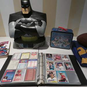 Lot # 99- Cool kids collectibles. Baseball cards, pokeman cards, Comic book, NFL Football  jersey