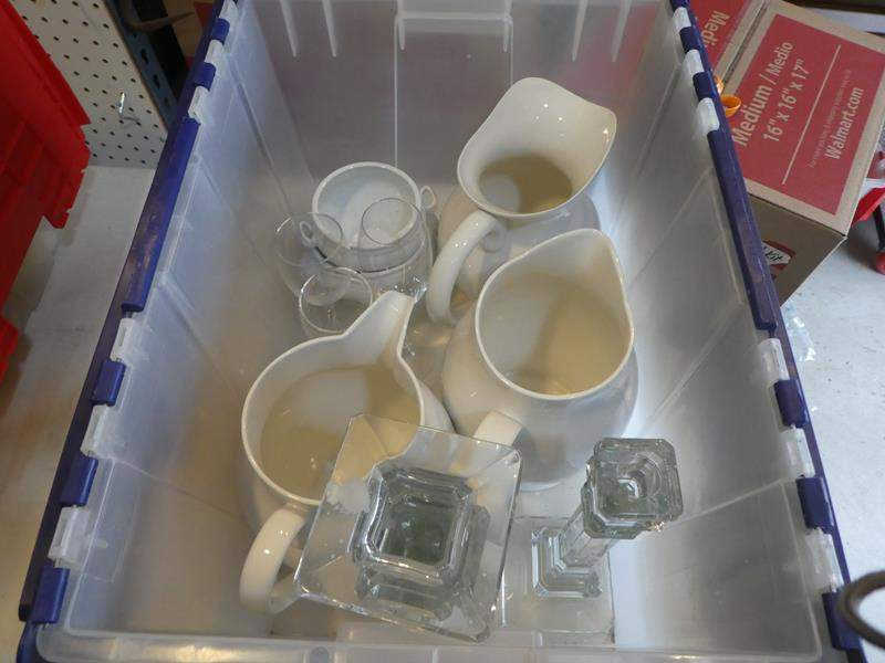 Lot # 344-Porcelain pitchers, wine glasses, and salt and pepper shakers (main image)