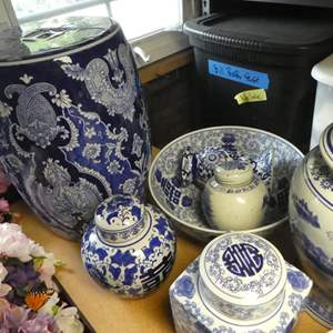Lot # 345- Beautiful blue and white ceramic pottery