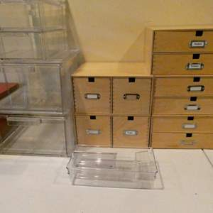 Lot # 108-Get organized! Wooden file drawers (super cute) and plastic containers