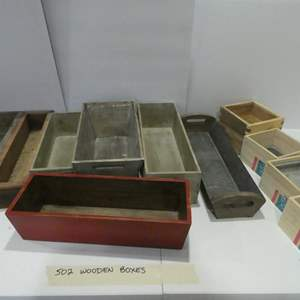 Lot # 502 Wooden boxes! Assorted, cute decorations