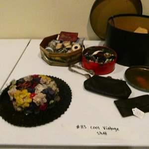 Lot # 113- Fun vintage stuff! Vintage hat, button, clutch and wallet