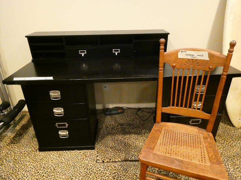 Lot # 115- Black solid wood, stylish desk with chair (main image)