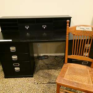 Lot # 115- Black solid wood, stylish desk with chair
