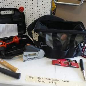 Lot # 508-Black & Decker cordless drill, tool bag & tools