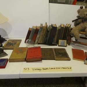 Lot # 513-Vintage books, vintage iron & tape dispenser and more