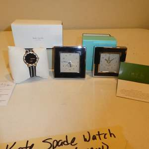 Lot # 516-Kate Spade watch and 2 Kate Spade clocks, always know the time