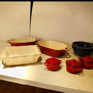 """Lot # 10- beautiful """"Lecreuse"""" ceramic kitchen pottery, also ceramic canisters and Mason Cash mixing bowls"""