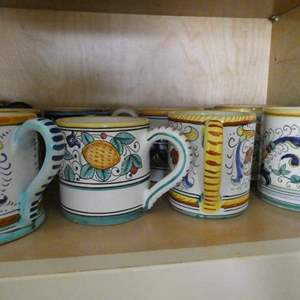 Lot # 25- Dishes, Plates and serving ware. Egg dish and hot plates.And hand painted mugs from Italy.