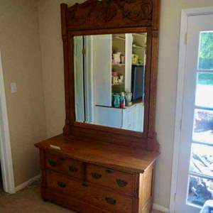 Lot # 69-solid wood, sturdy, dresser with mirror