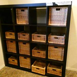 Lot # 120-Super cute, sturdy, stylish wood dresser with individual storage baskets