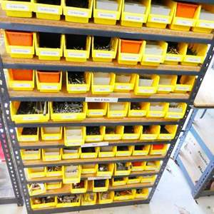 Lot # 214- Storage shelf and Organizer bins full of dees nuts and bolts