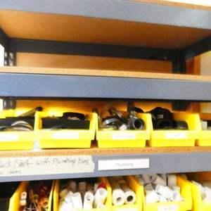 Lot # 216-Sturdy storage shelf with organizer bins and content