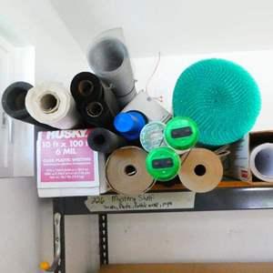 Lot # 226- TOP shelf of mystery (bubble wrap, screen material, cellophane wrap)