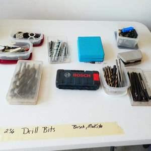 Lot # 236-Drill bits: Bosch, Makita, and more