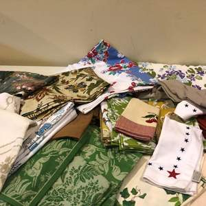 Lot # 333- Huge box of cloth napkins and tablecloth's