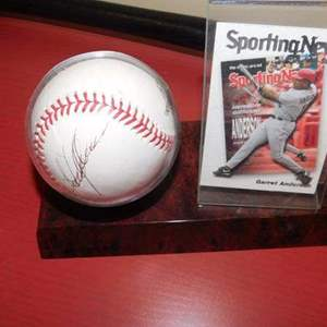 Lot # 380- Baseball memorabilia. Baseball signed by Garett Anderson