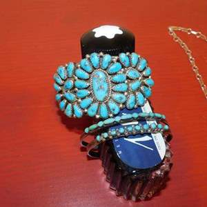 Lot # 385- Nice silver and turquoise jewelry