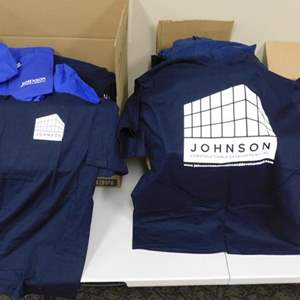 Auction Thumbnail for: Lot # 17-Boxes of new navy and blue tee shirts. Johnson construction s/m/l/xl