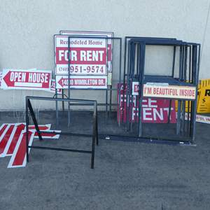 Auction Thumbnail for: Lot # 349- 15 Heavy gauge sign frames and many sign