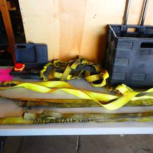 Auction Thumbnail for: Lot # 330- 3 cargo straps, safety harness, and car kit