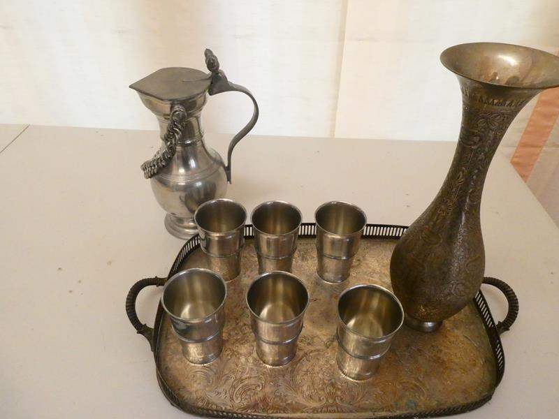 Lot # 5-Vintage Silver Drinking tray and tea set.  WGC India (main image)