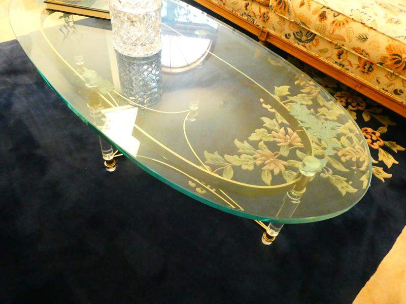Lot # 15- Glass coffee table, gold trim, and 2 end tables (main image)