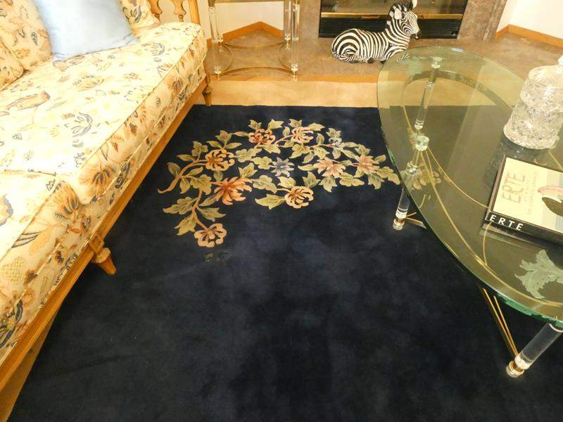 Lot # 21- Two area rugs- Thick!  Blue rug with tan border and matching tan with blue border rug (main image)