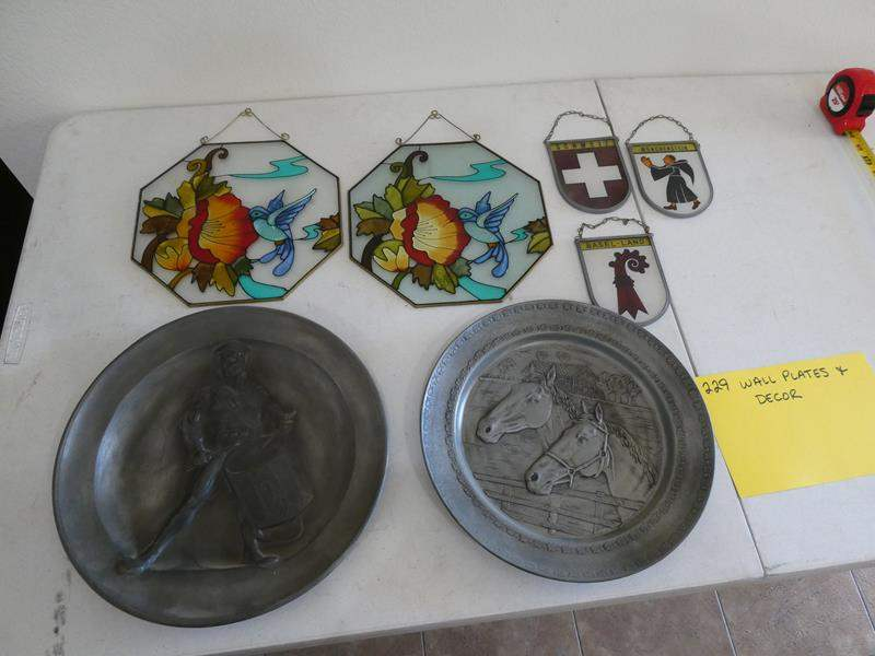 Lot # 229- Wall plates and decor- stained glass and metal plates (main image)