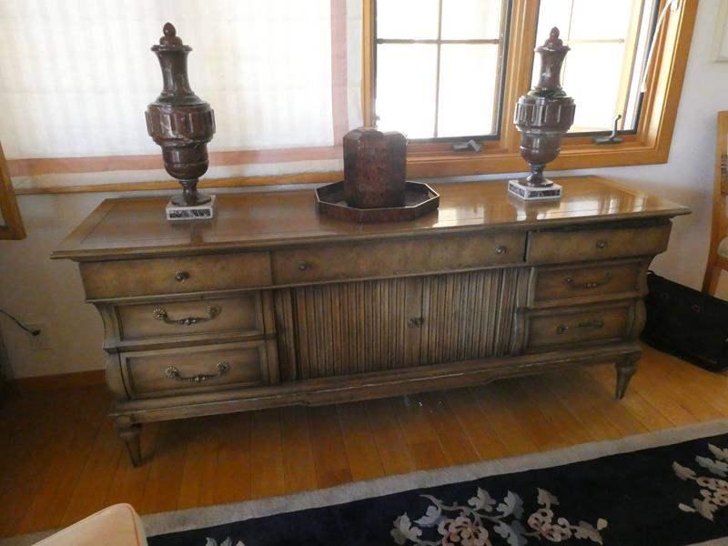 Lot # 25- Mid-century Sofa table/ hutch. Solid wood (main image)