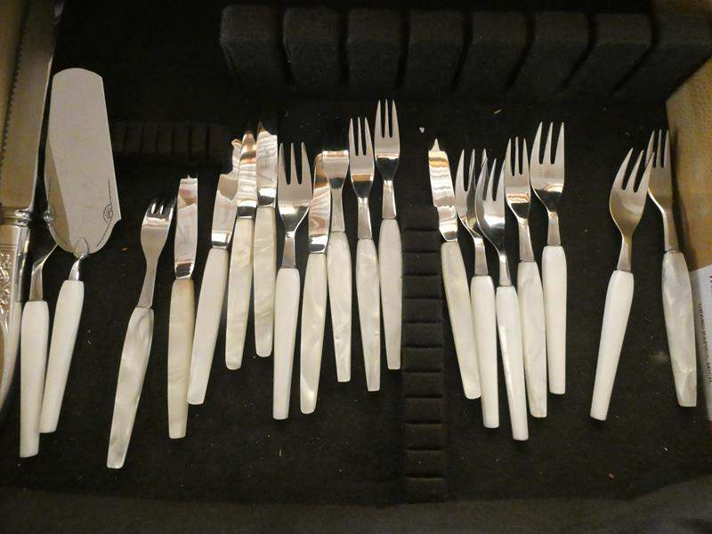 Lot # 29- Silver flatware with marble handles (main image)