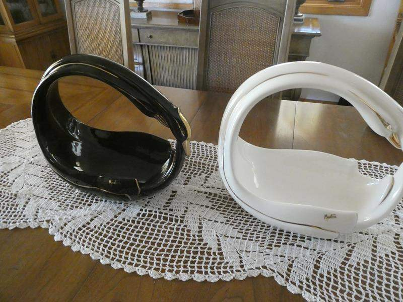 Lot # 34- MonTesa Decorative black and white swan serving dishes (main image)