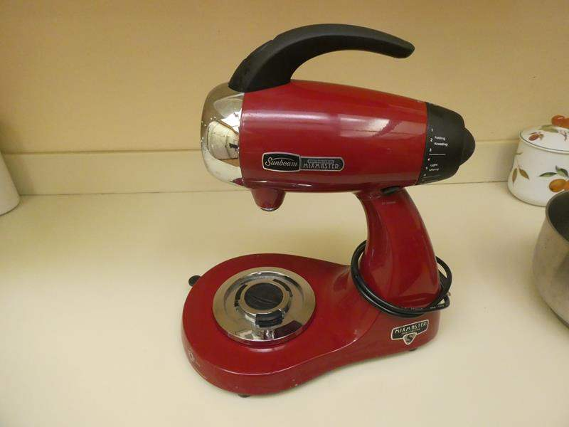 Lot # 38- sunbeam mixer, Heritage series With red tea kettle (main image)