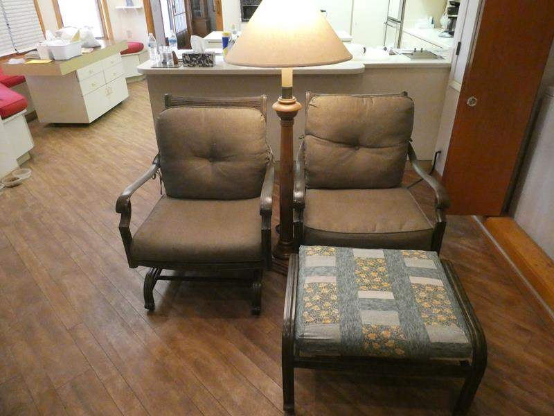 Lot # 44- Two metal rocking chairs With standing lamp (main image)