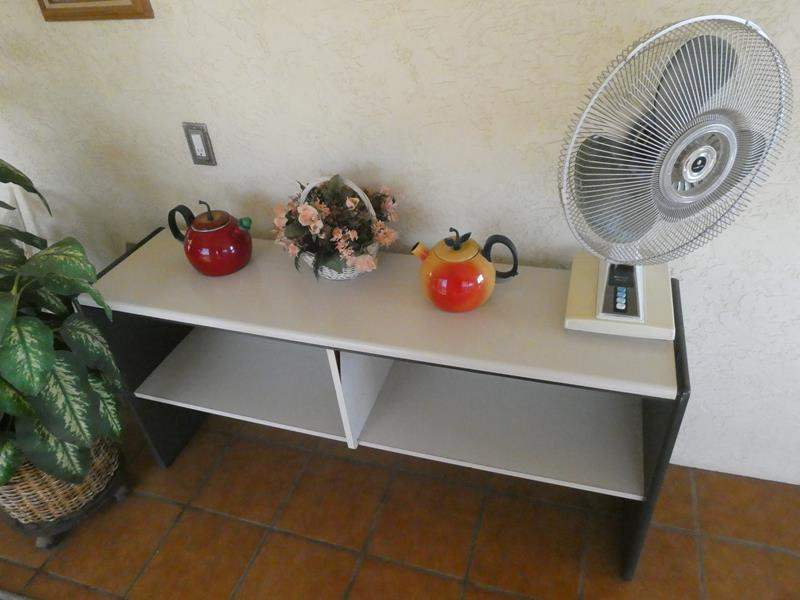 Lot # 53-Shelving with contents, bonus plant and fan (main image)