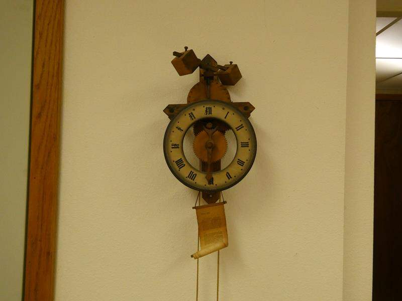Lot # 253- Vintage Swiss Buco wooden gear wall clock  (main image)